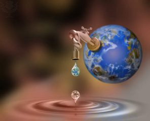 Faucet on earth dripping