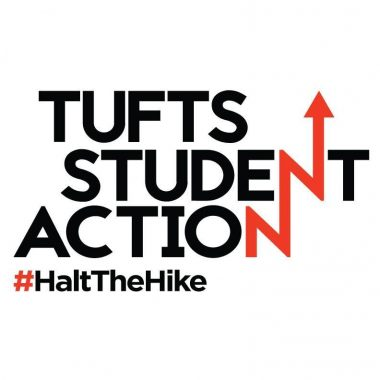 Tufts student action logo with #HaltTheHike