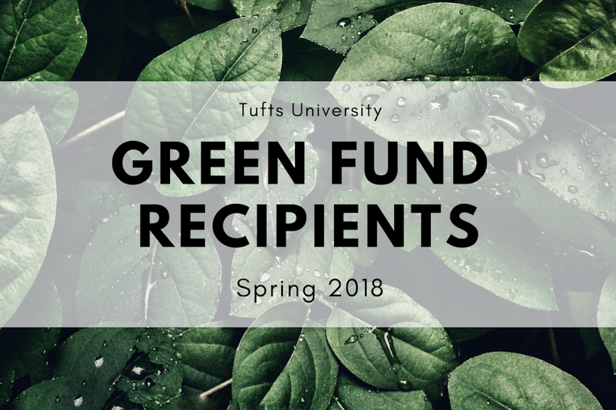 "Green leaves on dark background, with text ""Tufts University Green Fund recipients Spring 2018"""