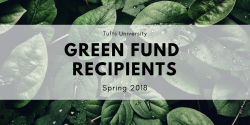 Green fund recipients spring 2018, text over background of leaves