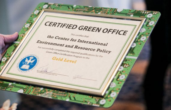 Green office certificate, certificate in a frame made with recycled computer parts