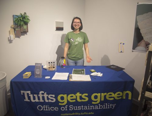 A SMFA Eco-Rep tables at the SMFA Jumbo Day for accepted students