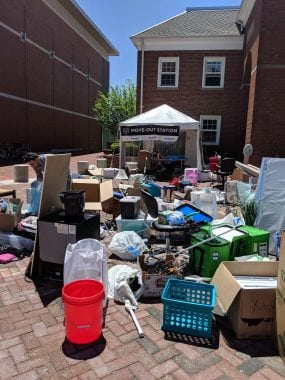 A mountain of items collected at this year's move out