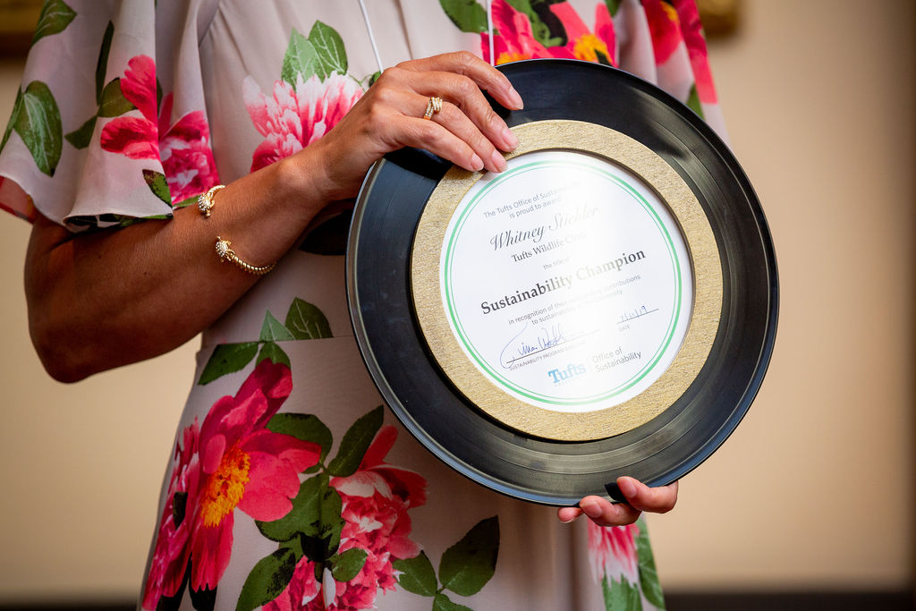 Close-up of person holding a sustainability champion award