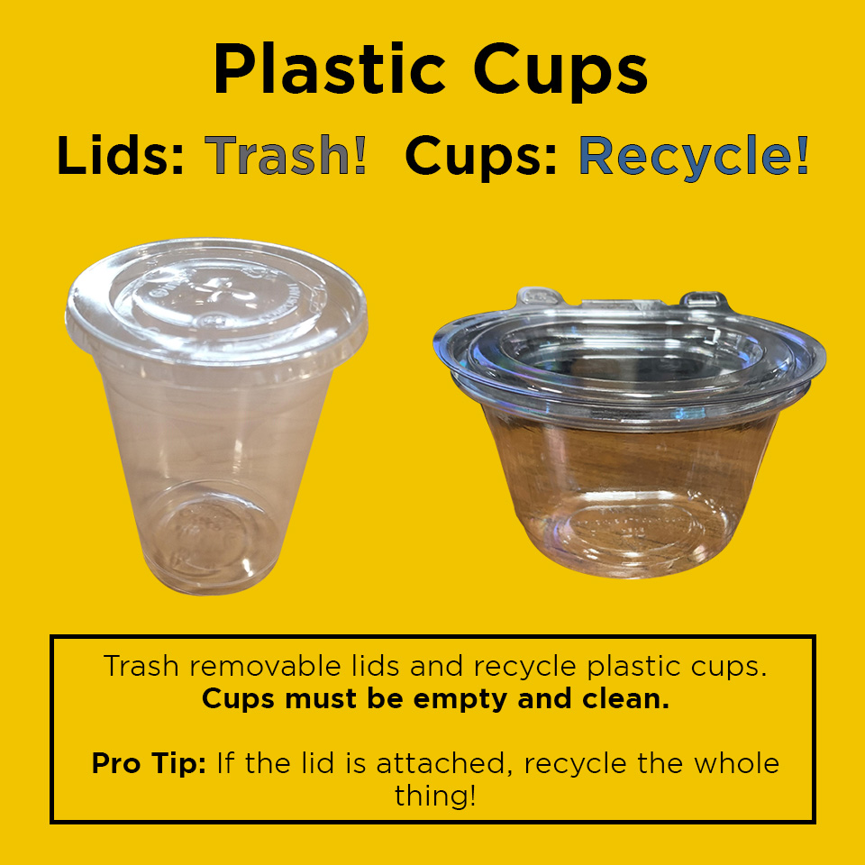 "Image of a disposable plastic cup and disposable plastic bowl on yellow background that reads ""Plastic Cups Lids: Trash! Cups: Recycle! Trash removable lids and recycle plastic cups. Cups must be empty and clean. Pro tip: if the lid is attached, recycle the whole thing!"