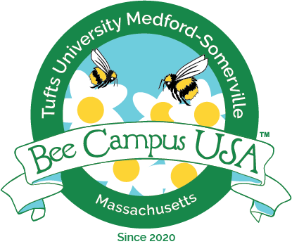 Bee Campus USA Logo: two cartoon bees on top of white and yellow flowers
