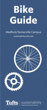 Graphic of a blue background and white bicycle wheel. Text: Bike Guide, Medford/Somerville campus, sustainability.tufts.edu