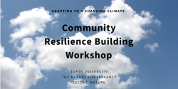 "Picture of clouds in sky, text saying ""community resilience building workshop"""