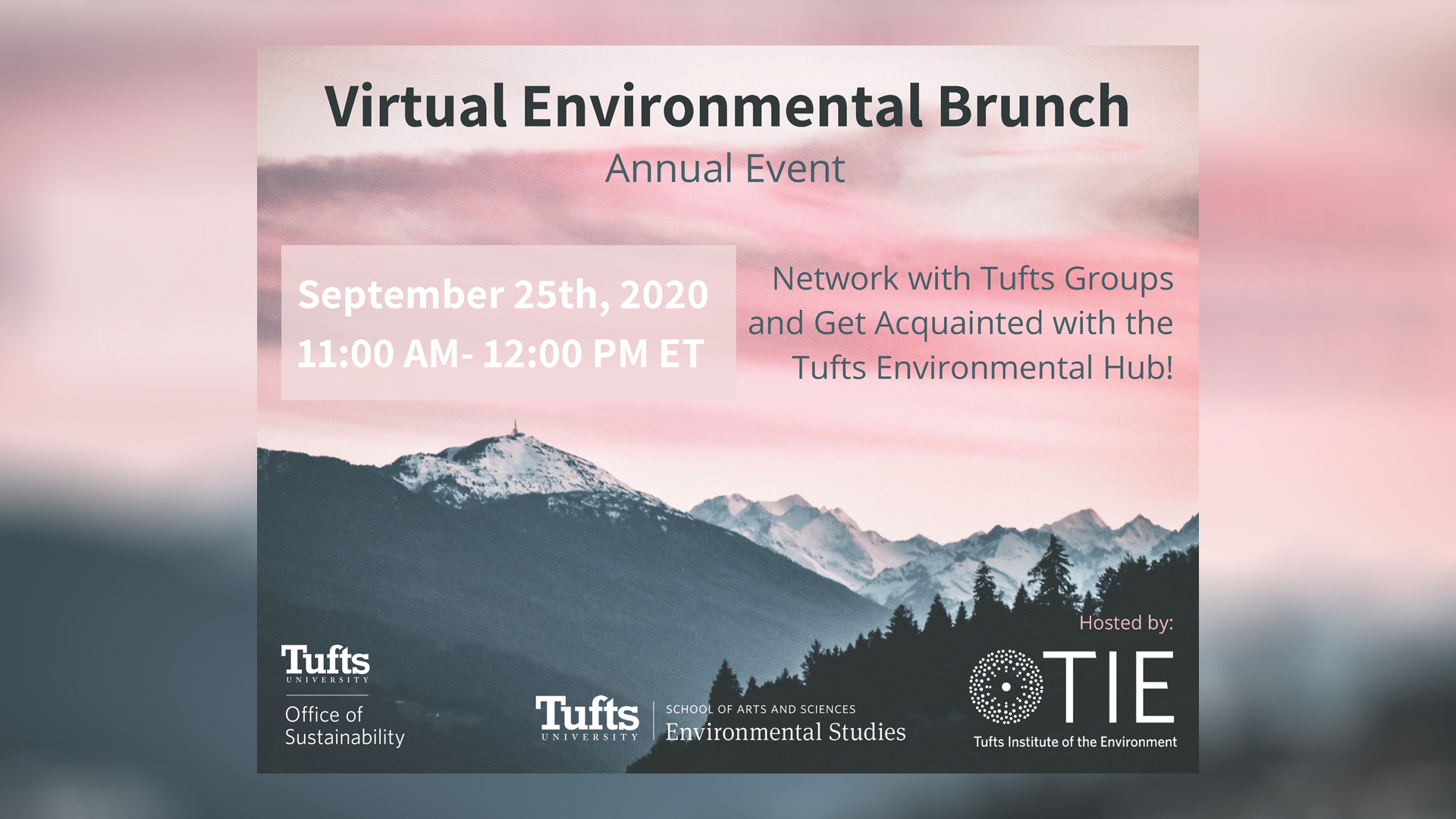 Poster for the Annual Environmental Brunch, with a pink sky and mountains in the background