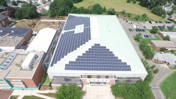 Roof of Tufts Gantcher Center covered with solar panels
