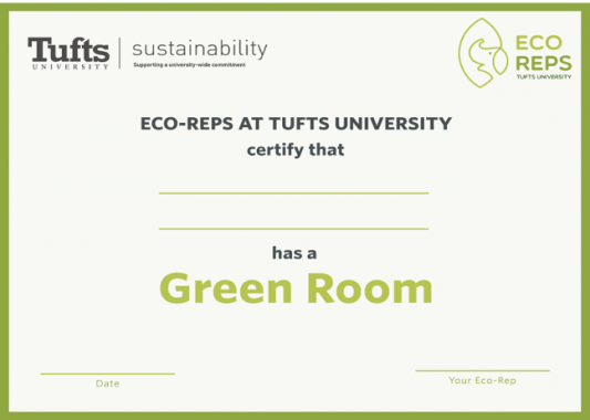 image of certificate for green dorm certification, awarded by the Tufts Eco-Reps