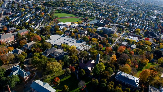 Ariel view of Tufts campus