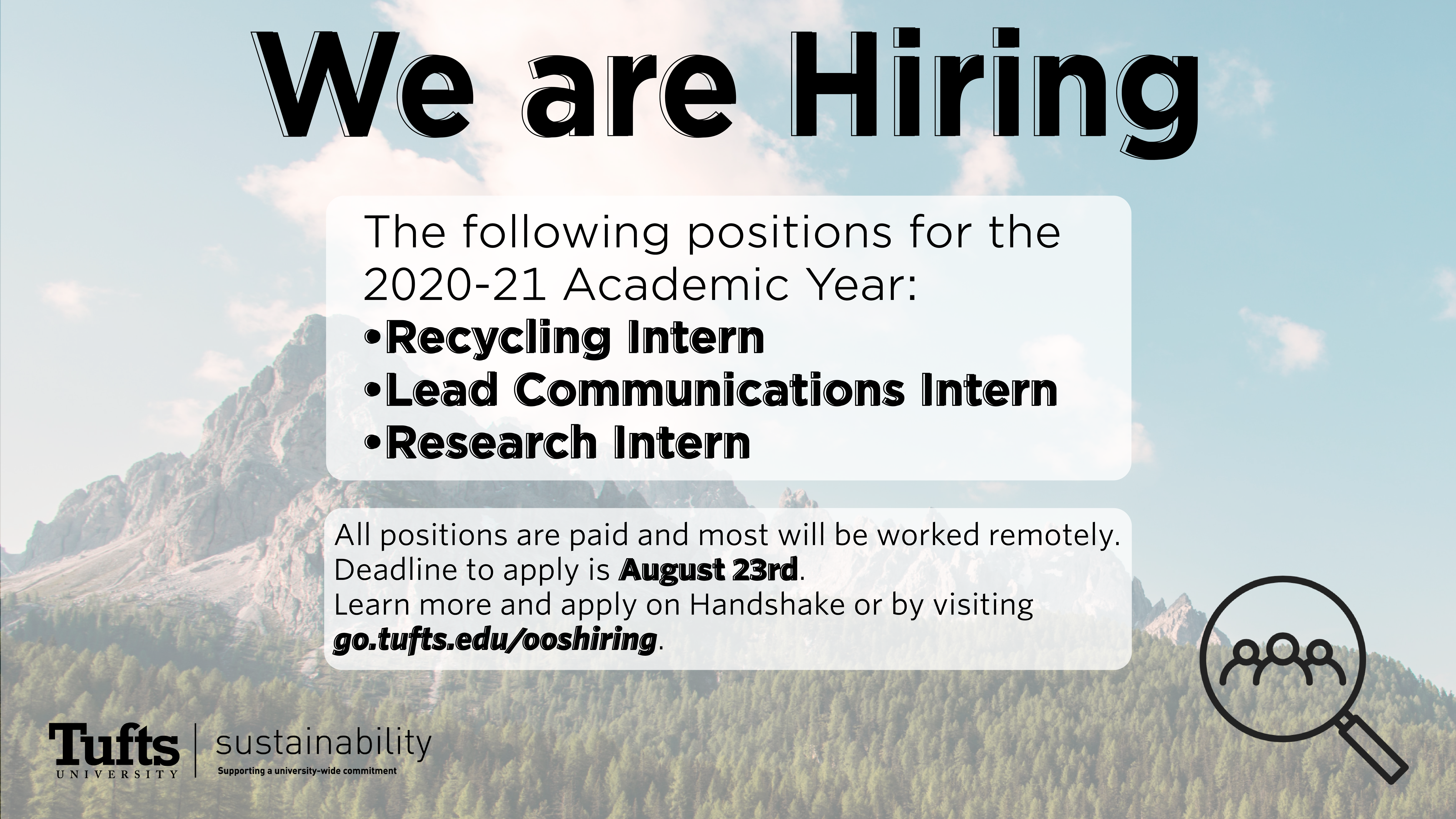 We are hiring graphic for fall 2020, image of the mountain and forest in the background and hiring information in the foreground