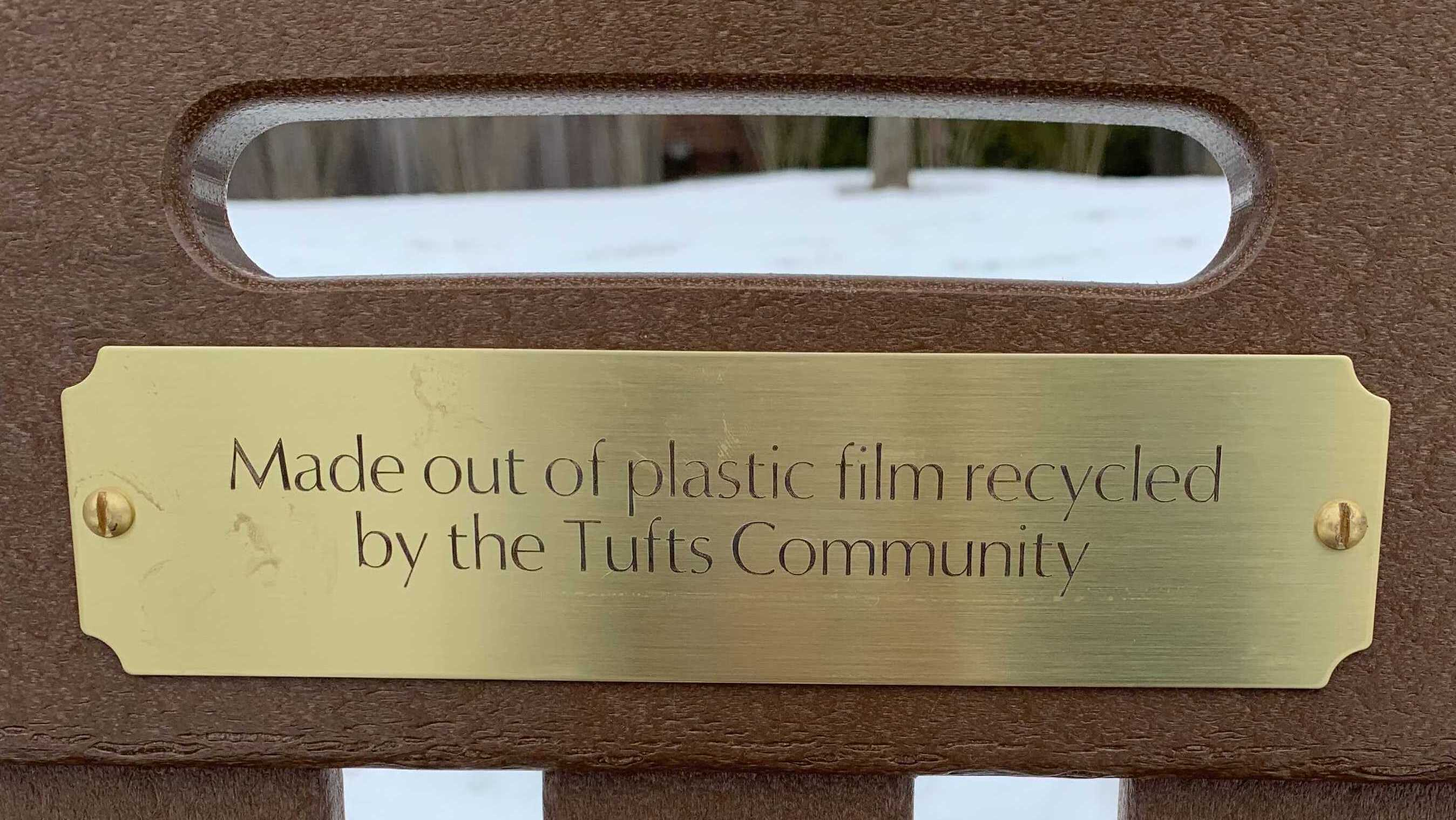 Tufts won a bench made out of recycled plastic film!