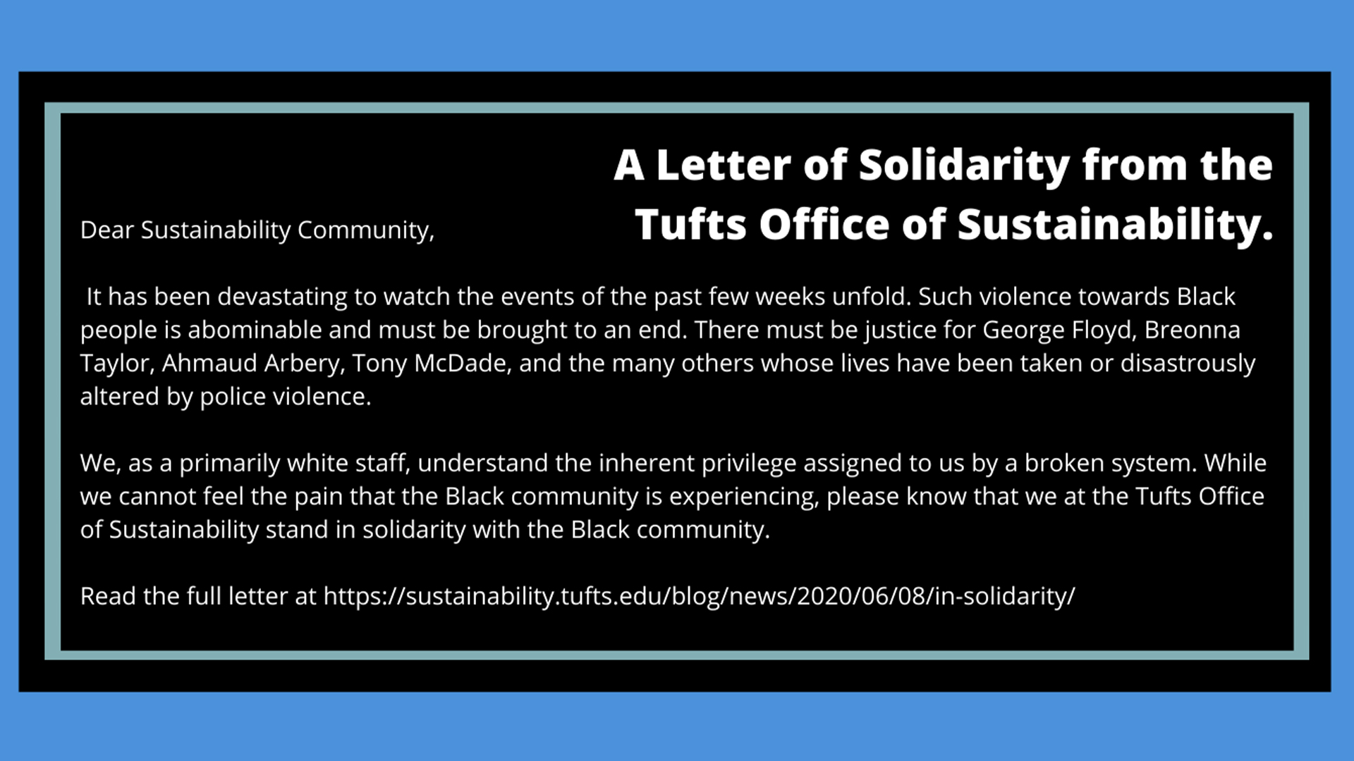 Solidarity Letter from the Tufts Office of Sustainability