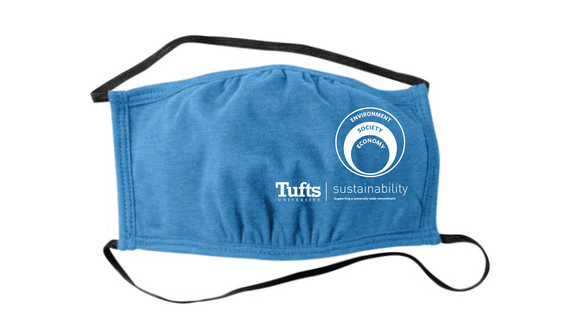 Image of a blue reusable face mask with the Tufts Sustainability logo printed on the right side