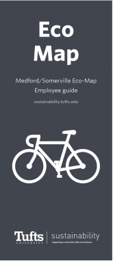Cover for the Medford Employee Eco-Map, There is an image of a white bicycle in the foreground.