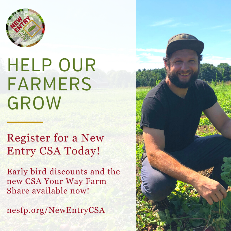 Advertisement on the left for New Entry's CSA program, on right there is a photograph of a farmer squatting in a growing field