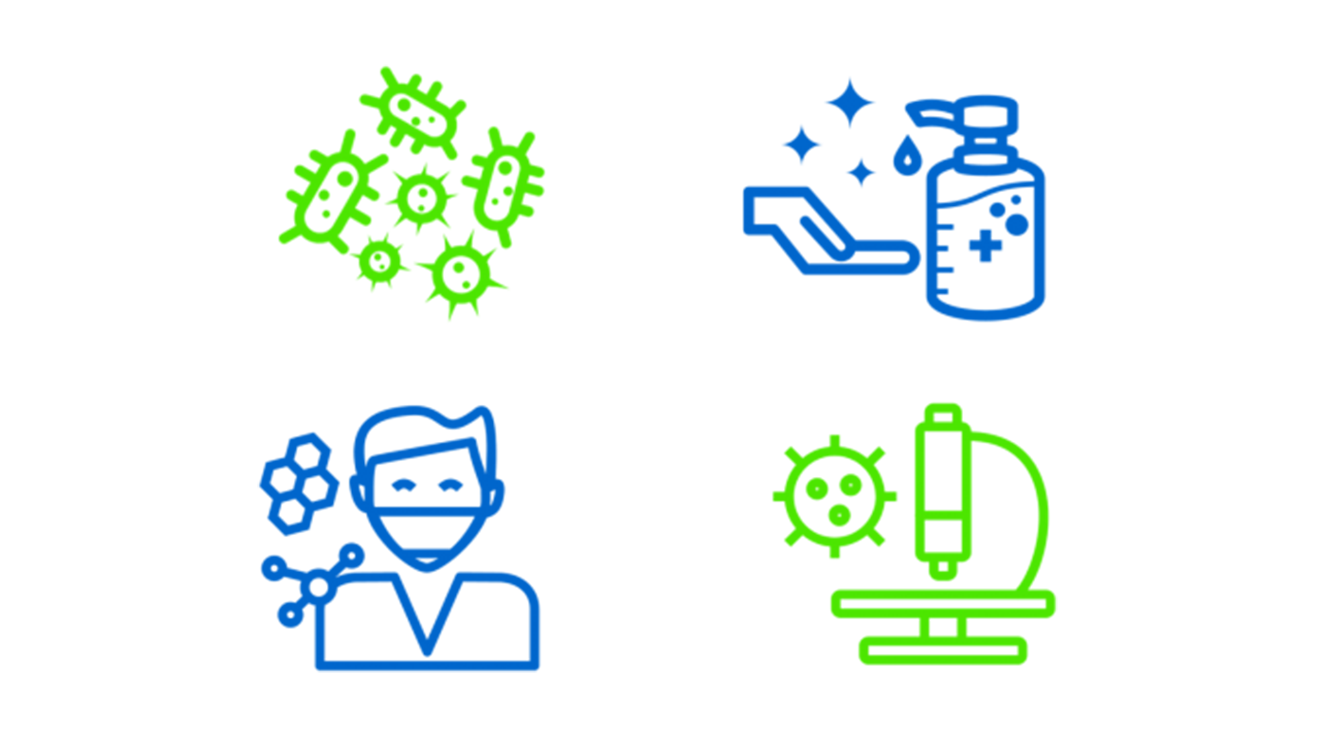 Blue and green line drawings from (top left to bottom right): green bacteria, blue hand sanitizer, blue person wearing a mask, green microscope