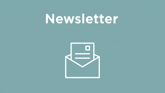 "Sign that says ""Newsletter"" with a gray-green background with a line drawing of a letter popping out of an envelope."