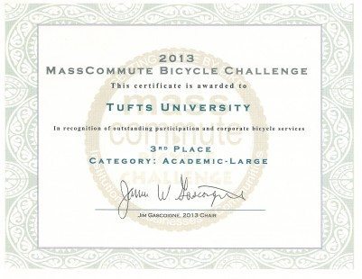 MassCommute Bicycle Challenge Certificate 2013