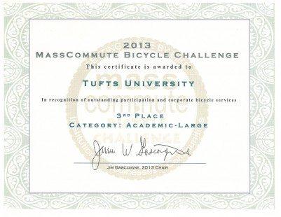MassCommute Bicycle Challenge Certificate 2013