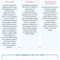Sustainability career guide screen capture of climate conscious career path