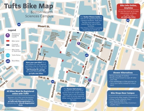 Bike map of Boston Health Sciences Campus overlaid with text tips and resources