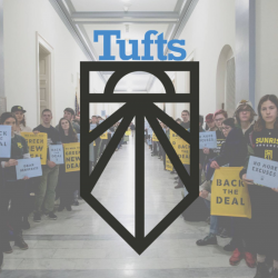 Sunrise Tufts logo overlaid onto an image of student protestors