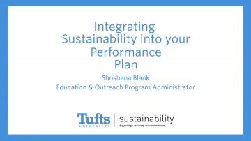 Integrating Sustainability into your Performance Plan, Screen capture of PowerPoint Presentation