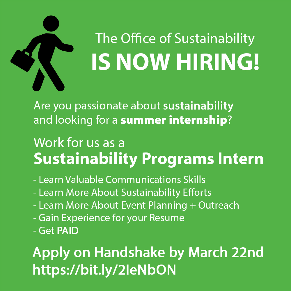 advertisement with green background and stick figure with brief case walking for summer 2020 sustainability programs intern