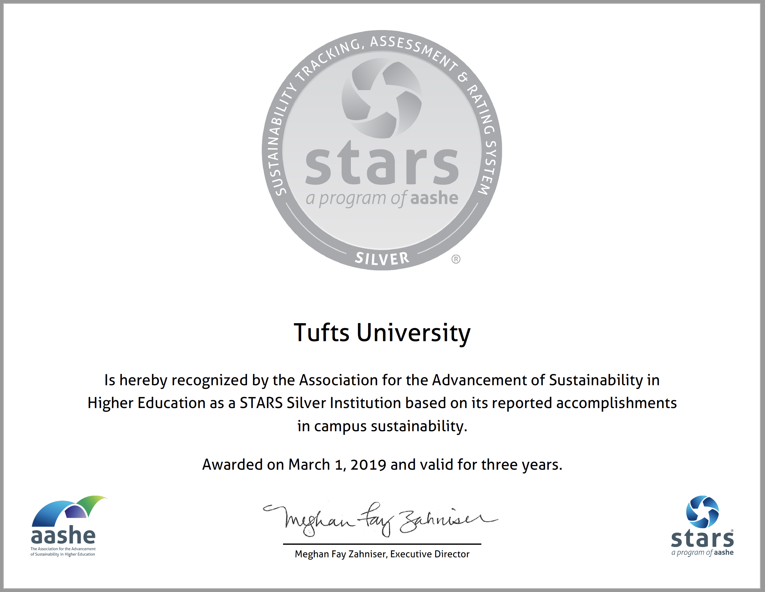 Tufts earns STARS Silver rating!