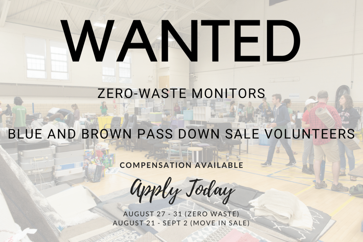 We Need Your Help – Looking for Zero Waste Workers and Move In Sale Volunteers