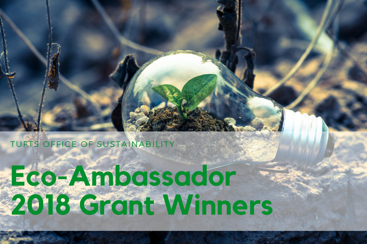 "Background with a lightbulb with plants growing inside, with text ""Tufts Office of Sustainability Eco-Ambassador 2018 Grant Winners"""