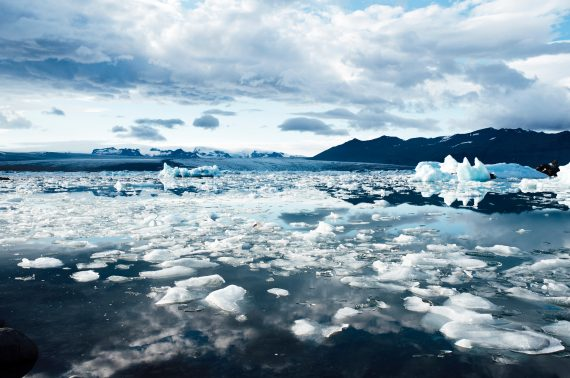 Melting glaciers, depicting impacts of climate change, stock photo