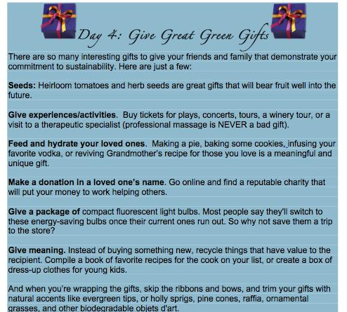 day 4 tip green gifts
